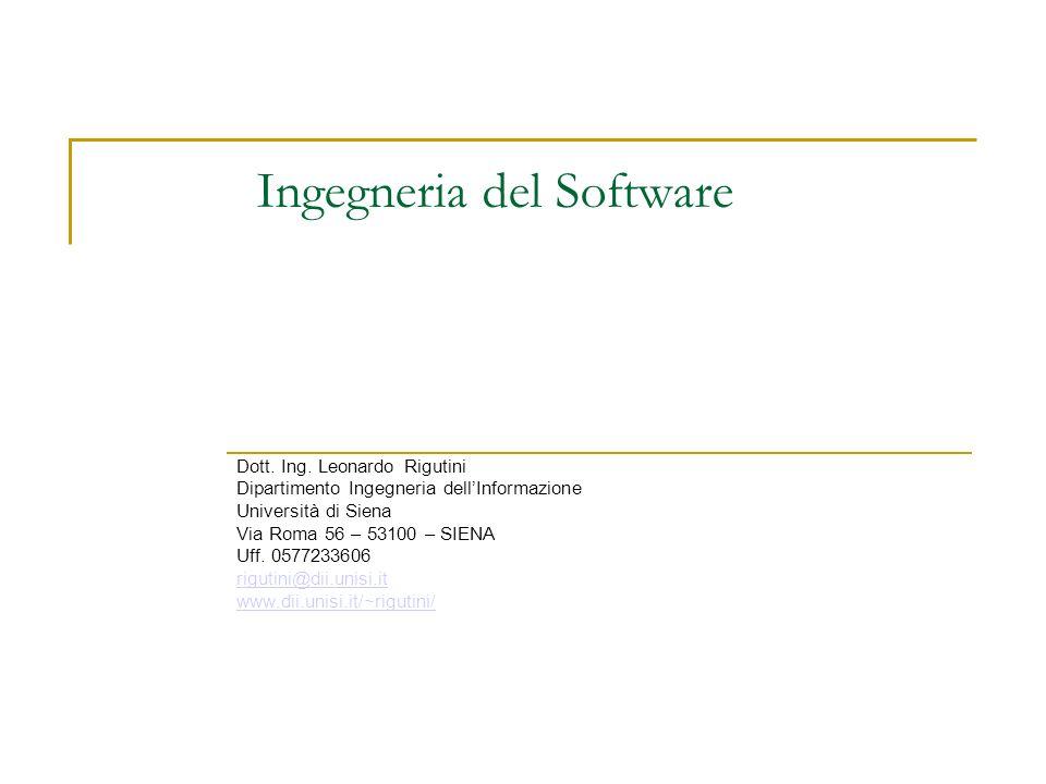 Ingegneria del Software Dott. Ing.