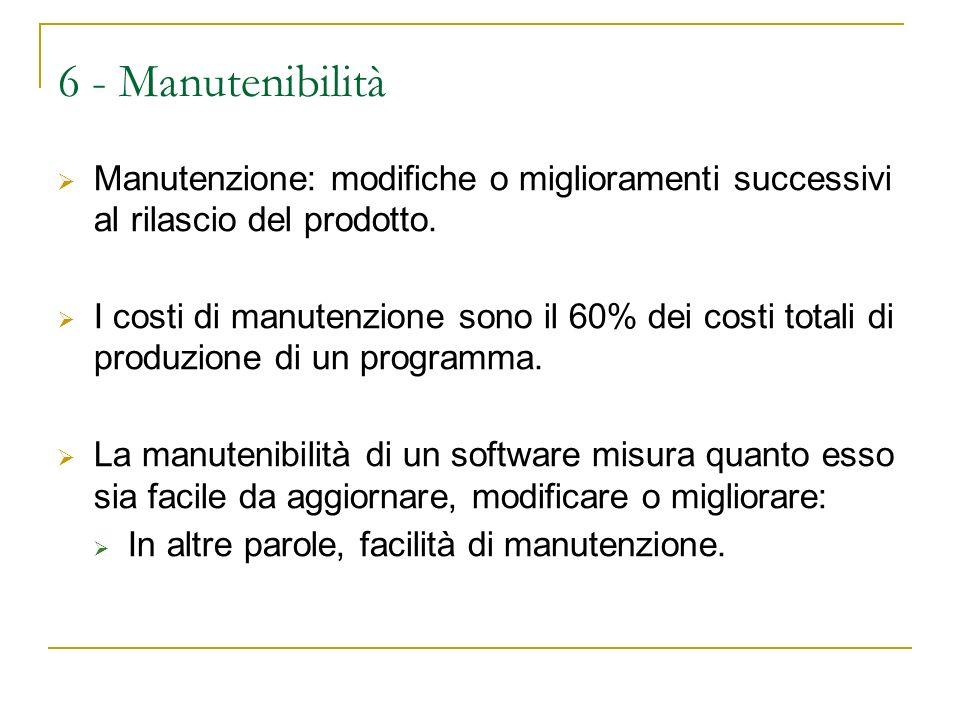 6 - Manutenibilità Manutenzione: modifiche o miglioramenti successivi al rilascio del prodotto.
