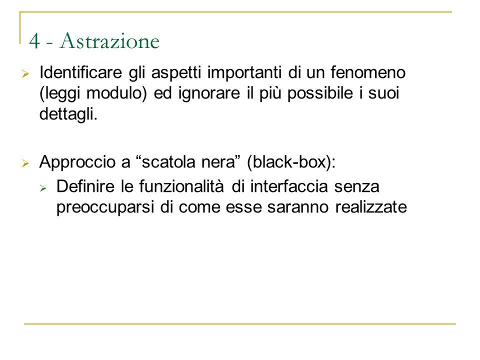 4 - Astrazione Identificare gli aspetti importanti di un fenomeno (leggi modulo) ed ignorare il più possibile i suoi dettagli.