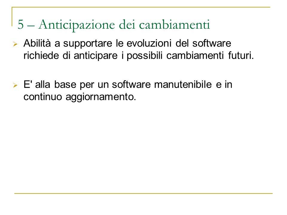 5 – Anticipazione dei cambiamenti Abilità a supportare le evoluzioni del software richiede di anticipare i possibili cambiamenti futuri.