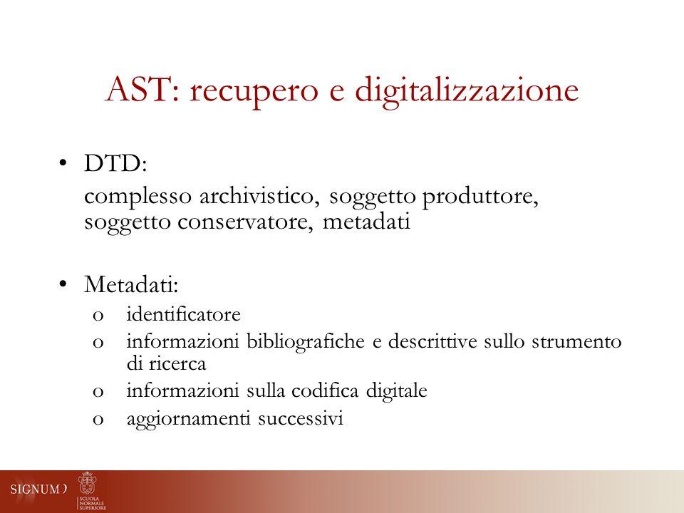AST: recupero e digitalizzazione DTD: complesso archivistico, soggetto produttore, soggetto conservatore, metadati Metadati: oidentificatore oinformazioni bibliografiche e descrittive sullo strumento di ricerca oinformazioni sulla codifica digitale oaggiornamenti successivi
