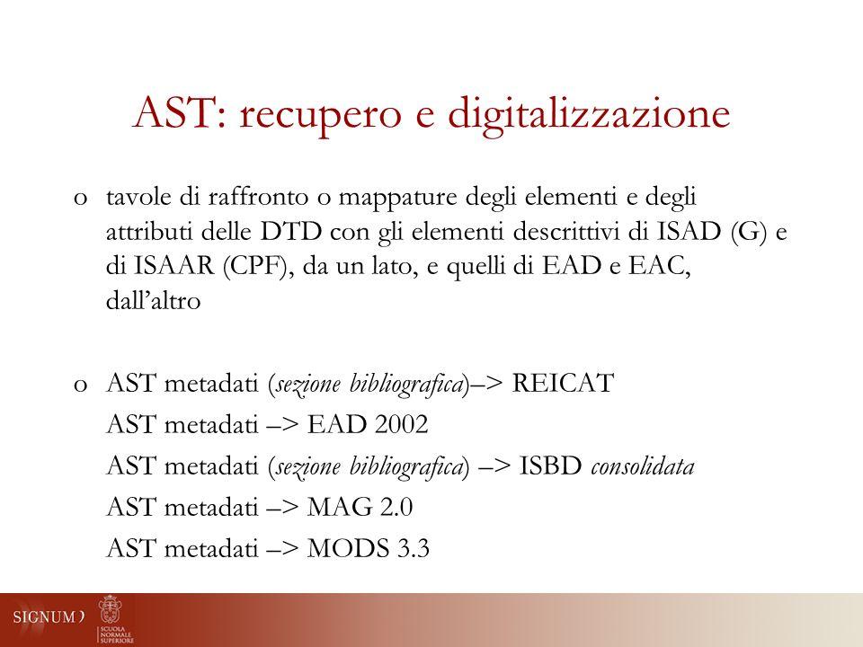 AST: recupero e digitalizzazione otavole di raffronto o mappature degli elementi e degli attributi delle DTD con gli elementi descrittivi di ISAD (G) e di ISAAR (CPF), da un lato, e quelli di EAD e EAC, dallaltro oAST metadati (sezione bibliografica)–> REICAT AST metadati –> EAD 2002 AST metadati (sezione bibliografica) –> ISBD consolidata AST metadati –> MAG 2.0 AST metadati –> MODS 3.3