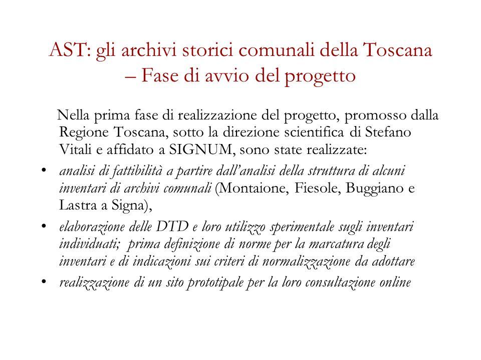 AST: gli archivi storici comunali della Toscana Sviluppi recenti Dopo le prime significative realizzazioni, consolidate già nel 2005, nel corso del 2009 si è proceduto ad una valutazione degli strumenti messi a punto nella fase iniziale e si è deciso di procedere al loro perfezionamento.