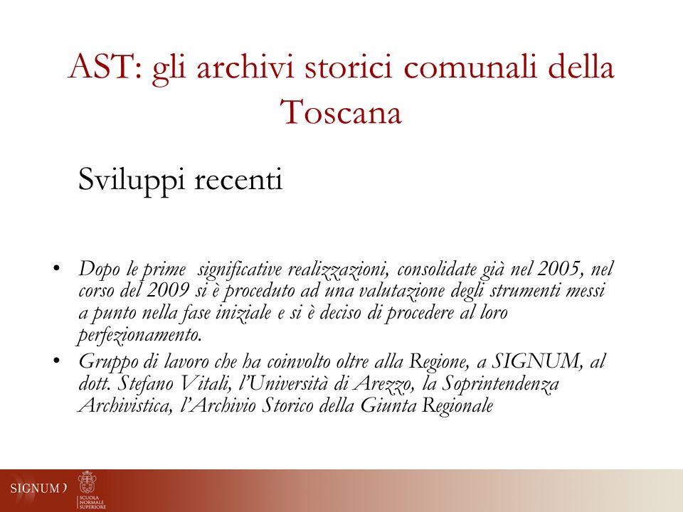 AST: fruizione online Demo: http://web-test.signum.sns.it/AST/ http://web-test.signum.sns.it/AST/