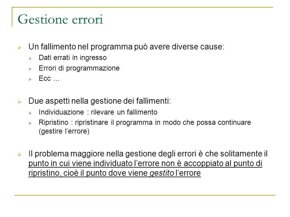 Gestione errori Un fallimento nel programma può avere diverse cause: Dati errati in ingresso Errori di programmazione Ecc … Due aspetti nella gestione