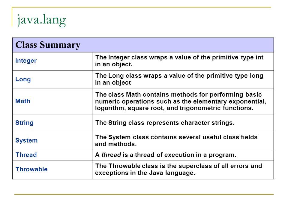 La classe Object Come già detto la classe Object è la classe root di tutte le classi Fornisce una serie di funzioni che normalmente devono essere sovrascritte (override) Vedere JavaDoc