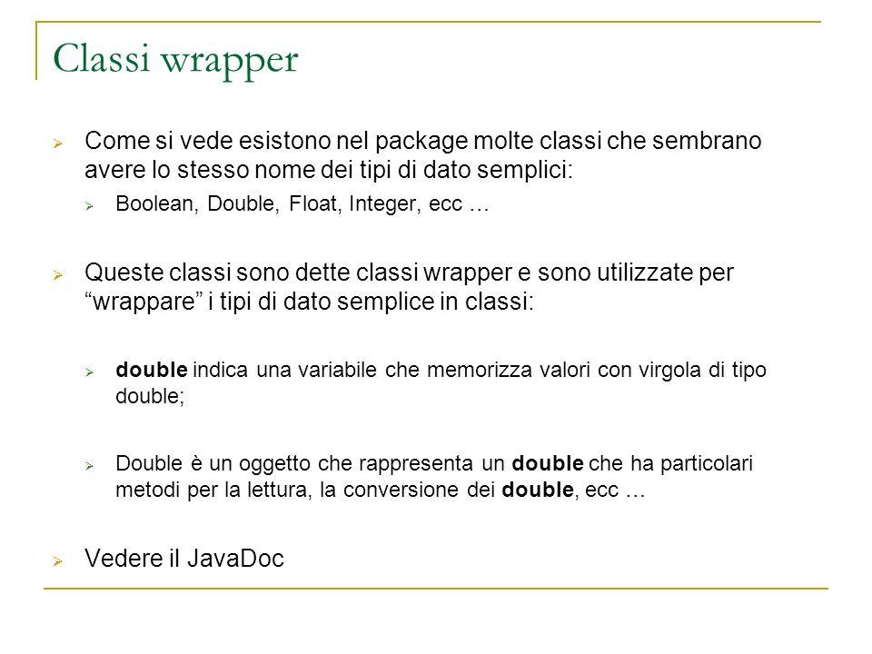 Classi wrapper Come si vede esistono nel package molte classi che sembrano avere lo stesso nome dei tipi di dato semplici: Boolean, Double, Float, Int