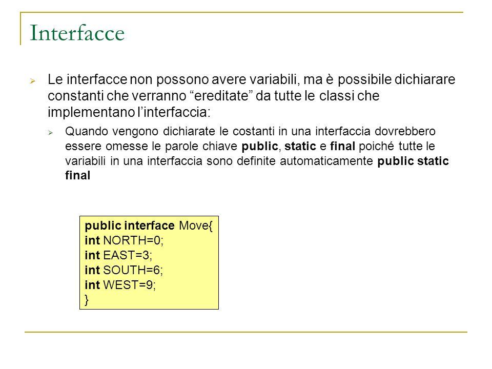 Interfacce Le interfacce non possono avere variabili, ma è possibile dichiarare constanti che verranno ereditate da tutte le classi che implementano linterfaccia: Quando vengono dichiarate le costanti in una interfaccia dovrebbero essere omesse le parole chiave public, static e final poiché tutte le variabili in una interfaccia sono definite automaticamente public static final public interface Move{ int NORTH=0; int EAST=3; int SOUTH=6; int WEST=9; }