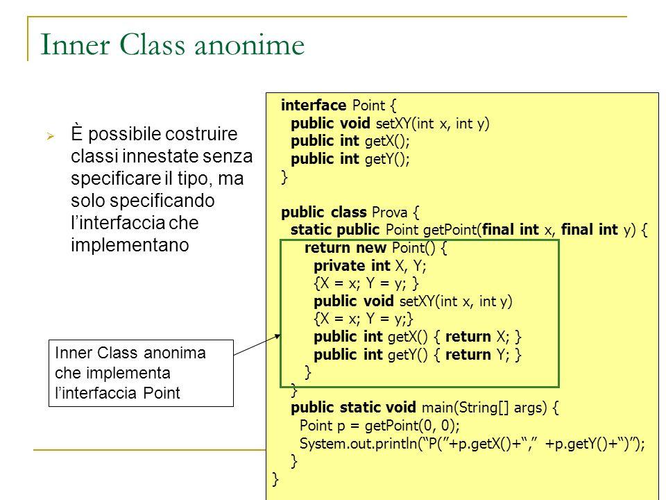 Inner Class anonime È possibile costruire classi innestate senza specificare il tipo, ma solo specificando linterfaccia che implementano interface Poi