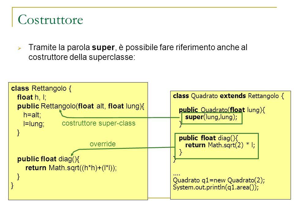 Costruttore Tramite la parola super, è possibile fare riferimento anche al costruttore della superclasse: class Quadrato extends Rettangolo { public Quadrato(float lung){ super(lung,lung); } public float diag(){ return Math.sqrt(2) * l; }....