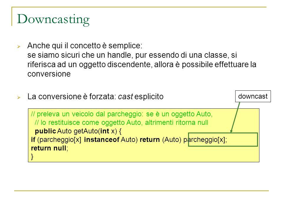 Downcasting Anche qui il concetto è semplice: se siamo sicuri che un handle, pur essendo di una classe, si riferisca ad un oggetto discendente, allora è possibile effettuare la conversione La conversione è forzata: cast esplicito // preleva un veicolo dal parcheggio: se è un oggetto Auto, // lo restituisce come oggetto Auto, altrimenti ritorna null public Auto getAuto(int x) { if (parcheggio[x] instanceof Auto) return (Auto) parcheggio[x]; return null; } downcast