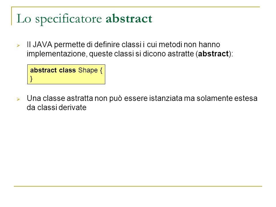 Lo specificatore abstract Il JAVA permette di definire classi i cui metodi non hanno implementazione, queste classi si dicono astratte (abstract): Una classe astratta non può essere istanziata ma solamente estesa da classi derivate abstract class Shape { }