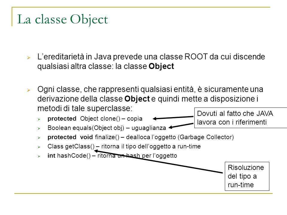 La classe Object Lereditarietà in Java prevede una classe ROOT da cui discende qualsiasi altra classe: la classe Object Ogni classe, che rappresenti qualsiasi entità, è sicuramente una derivazione della classe Object e quindi mette a disposizione i metodi di tale superclasse: protected Object clone() – copia Boolean equals(Object obj) – uguaglianza protected void finalize() – dealloca loggetto (Garbage Collector) Class getClass() – ritorna il tipo delloggetto a run-time int hashCode() – ritorna un hash per loggetto Dovuti al fatto che JAVA lavora con i riferimenti Risoluzione del tipo a run-time