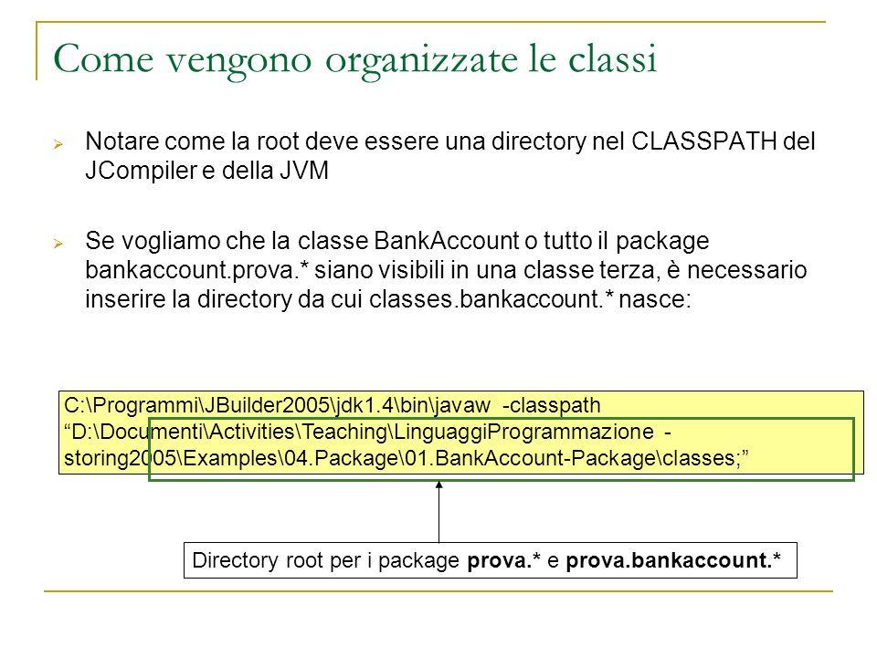Come vengono organizzate le classi Notare come la root deve essere una directory nel CLASSPATH del JCompiler e della JVM Se vogliamo che la classe BankAccount o tutto il package bankaccount.prova.* siano visibili in una classe terza, è necessario inserire la directory da cui classes.bankaccount.* nasce: C:\Programmi\JBuilder2005\jdk1.4\bin\javaw -classpath D:\Documenti\Activities\Teaching\LinguaggiProgrammazione - storing2005\Examples\04.Package\01.BankAccount-Package\classes; Directory root per i package prova.* e prova.bankaccount.*