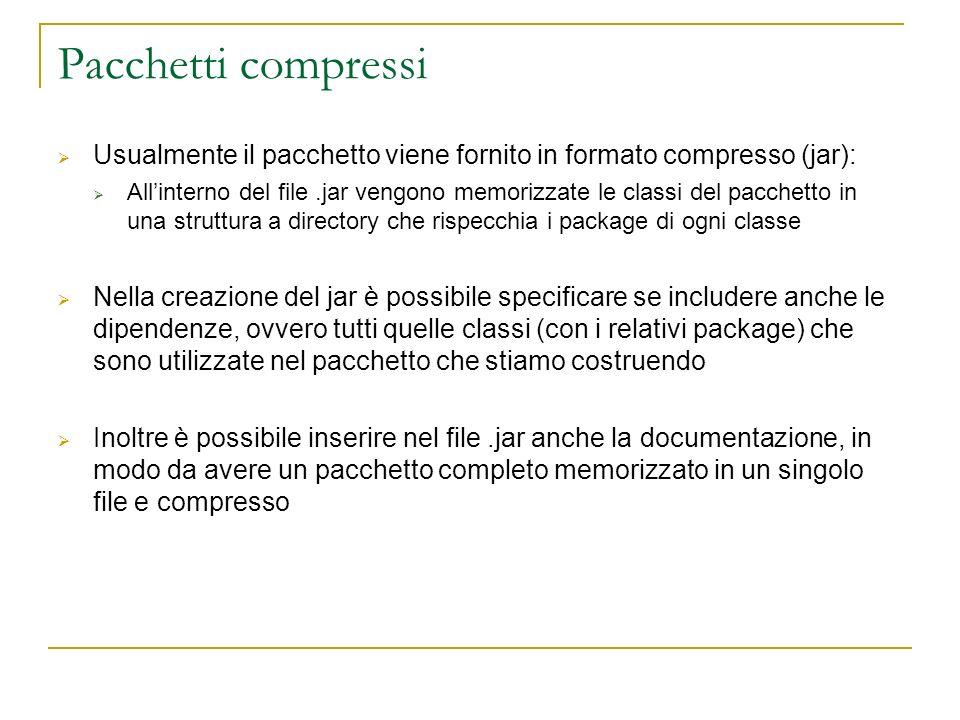 Pacchetti compressi Usualmente il pacchetto viene fornito in formato compresso (jar): Allinterno del file.jar vengono memorizzate le classi del pacchetto in una struttura a directory che rispecchia i package di ogni classe Nella creazione del jar è possibile specificare se includere anche le dipendenze, ovvero tutti quelle classi (con i relativi package) che sono utilizzate nel pacchetto che stiamo costruendo Inoltre è possibile inserire nel file.jar anche la documentazione, in modo da avere un pacchetto completo memorizzato in un singolo file e compresso