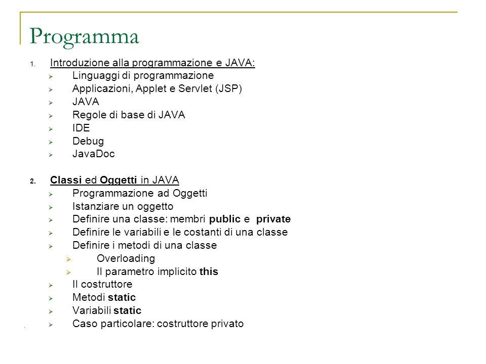 1. Introduzione alla programmazione e JAVA: Linguaggi di programmazione Applicazioni, Applet e Servlet (JSP) JAVA Regole di base di JAVA IDE Debug Jav