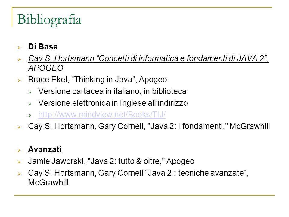 Bibliografia Di Base Cay S. Hortsmann Concetti di informatica e fondamenti di JAVA 2, APOGEO Bruce Ekel, Thinking in Java, Apogeo Versione cartacea in