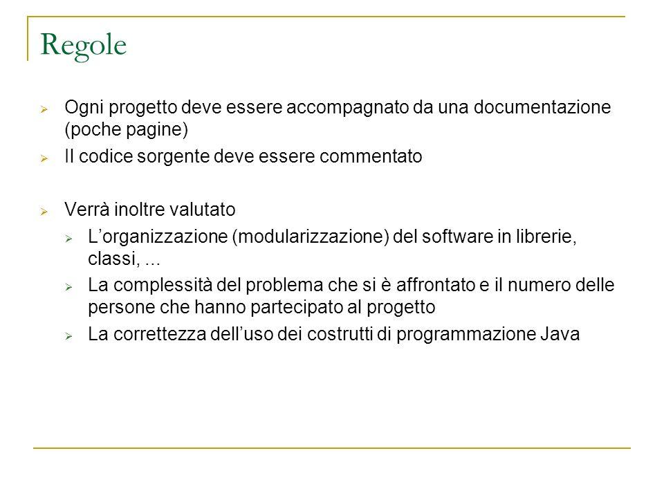 Regole Ogni progetto deve essere accompagnato da una documentazione (poche pagine) Il codice sorgente deve essere commentato Verrà inoltre valutato Lo