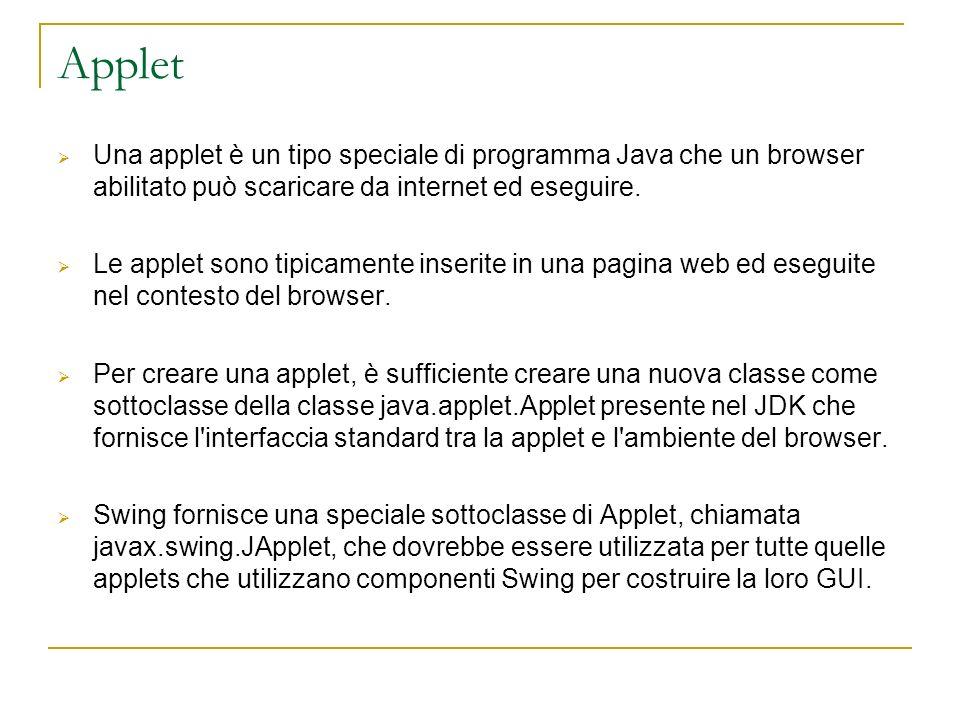 Applet Una applet è un tipo speciale di programma Java che un browser abilitato può scaricare da internet ed eseguire. Le applet sono tipicamente inse