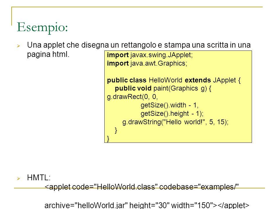 Esempio: Una applet che disegna un rettangolo e stampa una scritta in una pagina html. HMTL: import javax.swing.JApplet; import java.awt.Graphics; pub