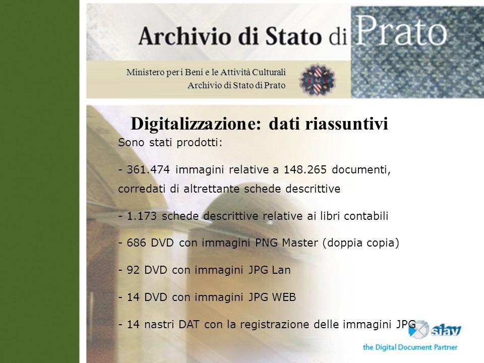 Ministero per i Beni e le Attività Culturali Archivio di Stato di Prato Sono stati prodotti: - 361.474 immagini relative a 148.265 documenti, corredat