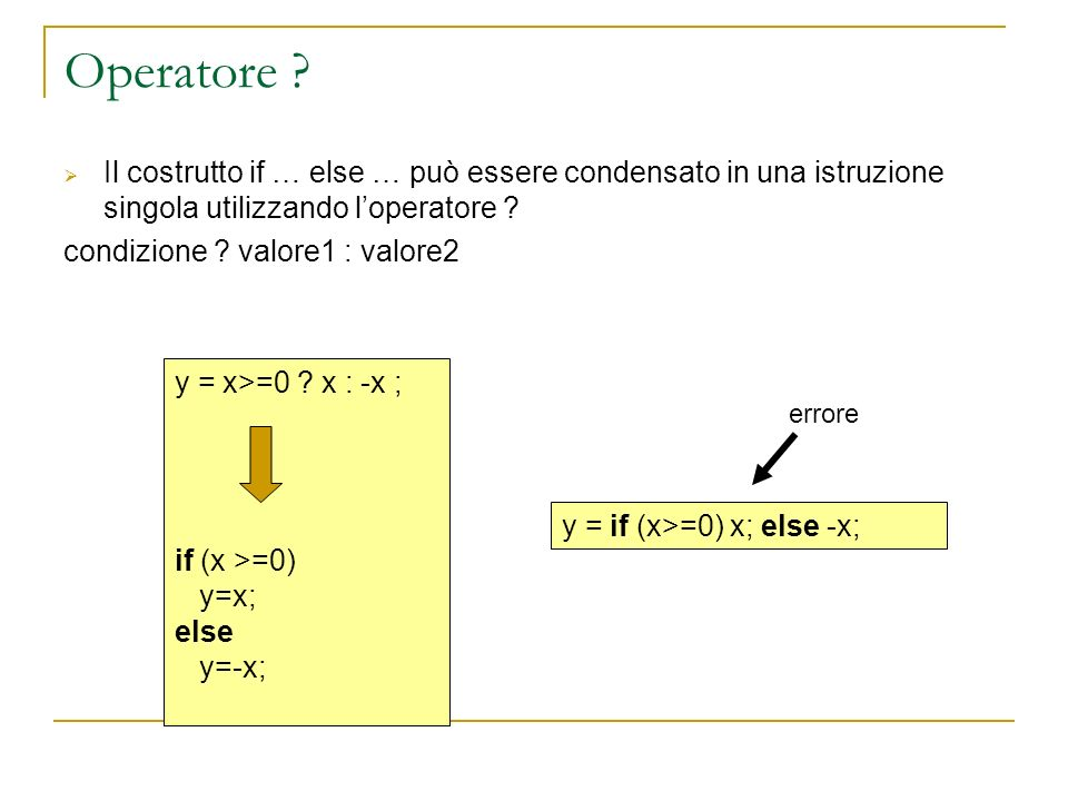 Operatore ? Il costrutto if … else … può essere condensato in una istruzione singola utilizzando loperatore ? condizione ? valore1 : valore2 y = x>=0