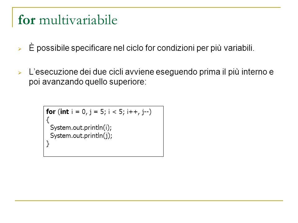 for multivariabile È possibile specificare nel ciclo for condizioni per più variabili. Lesecuzione dei due cicli avviene eseguendo prima il più intern