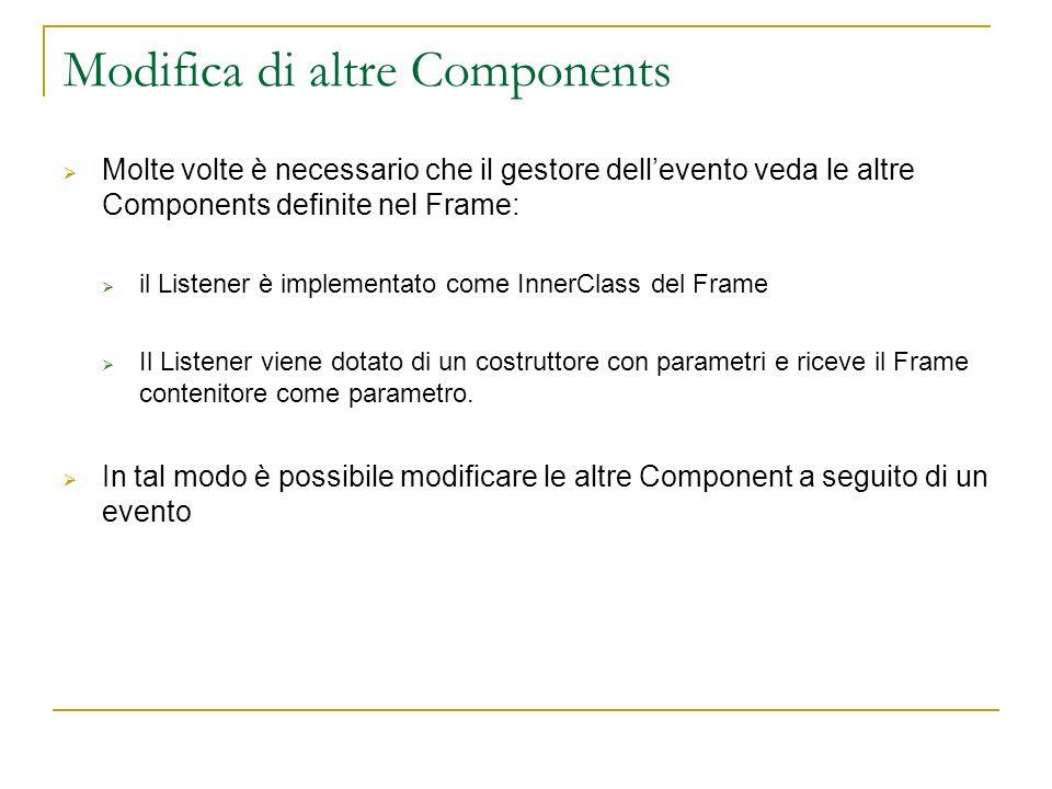 Listeners forniti con JDK Il JDK mette a disposizione un gran numero di interfacce Listener: ActionListener, AdjustmentListener, AWTEventListener, ComponentListener, ContainerListener, FocusListener, HierarchyBoundsListener, HierarchyListener, InputMethodListener, ItemListener, KeyListener, MouseListener, MouseMotionListener, MouseWheelListener, TextListener, WindowFocusListener, WindowListener, WindowStateListener ActionListenerAdjustmentListenerAWTEventListener ComponentListenerContainerListenerFocusListener HierarchyBoundsListenerHierarchyListenerInputMethodListener ItemListenerKeyListenerMouseListenerMouseMotionListener MouseWheelListenerTextListenerWindowFocusListener WindowListenerWindowStateListener