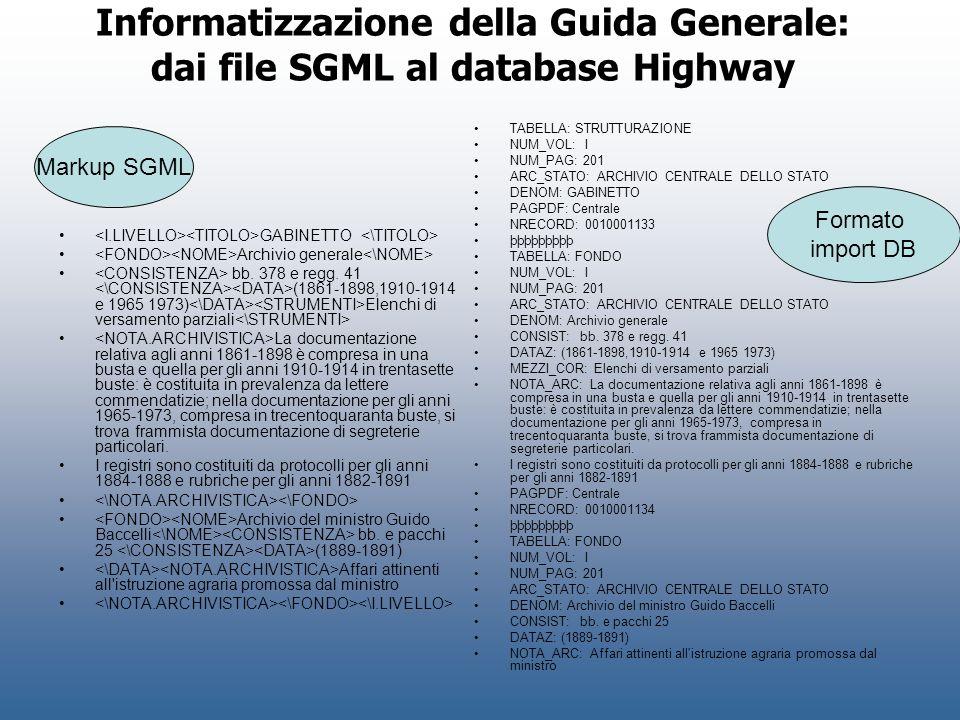 Informatizzazione della Guida Generale: dai file SGML al database Highway GABINETTO Archivio generale bb. 378 e regg. 41 (1861-1898,1910-1914 e 1965 1