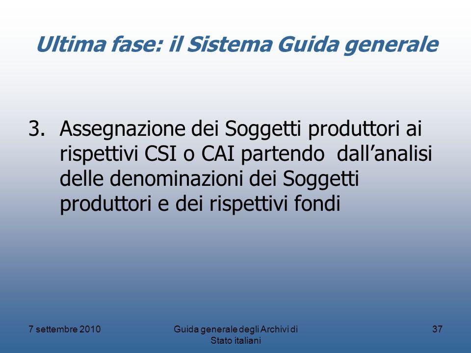 7 settembre 2010Guida generale degli Archivi di Stato italiani 37 Ultima fase: il Sistema Guida generale 3.Assegnazione dei Soggetti produttori ai ris
