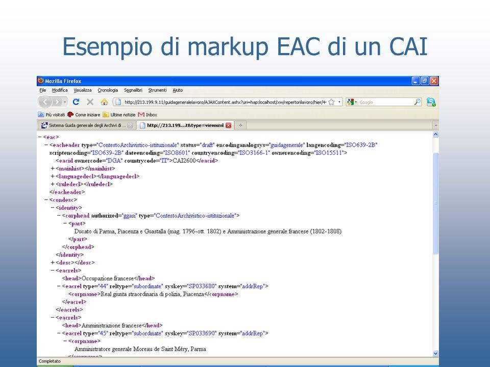 Esempio di markup EAC di un CAI