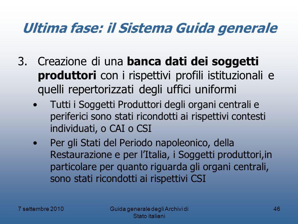 7 settembre 2010Guida generale degli Archivi di Stato italiani 46 Ultima fase: il Sistema Guida generale 3.Creazione di una banca dati dei soggetti pr
