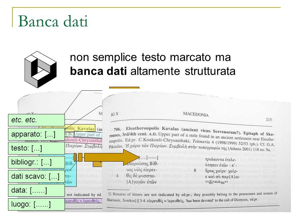 Banca dati non semplice testo marcato ma banca dati altamente strutturata luogo dati di scavo data bibliografia testo apparato luogo: [......] data: [