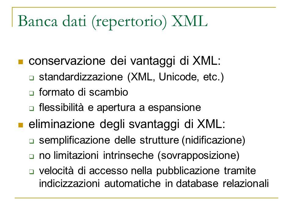 Banca dati (repertorio) XML conservazione dei vantaggi di XML: standardizzazione (XML, Unicode, etc.) formato di scambio flessibilità e apertura a esp