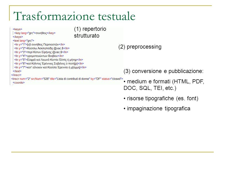 Trasformazione testuale (1) repertorio strutturato (2) preprocessing (3) conversione e pubblicazione: medium e formati (HTML, PDF, DOC, SQL, TEI, etc.