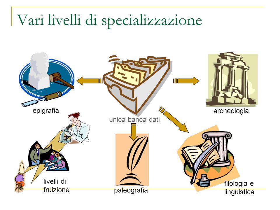 Vari livelli di specializzazione unica banca dati epigrafia archeologia filologia e linguistica paleografia livelli di fruizione