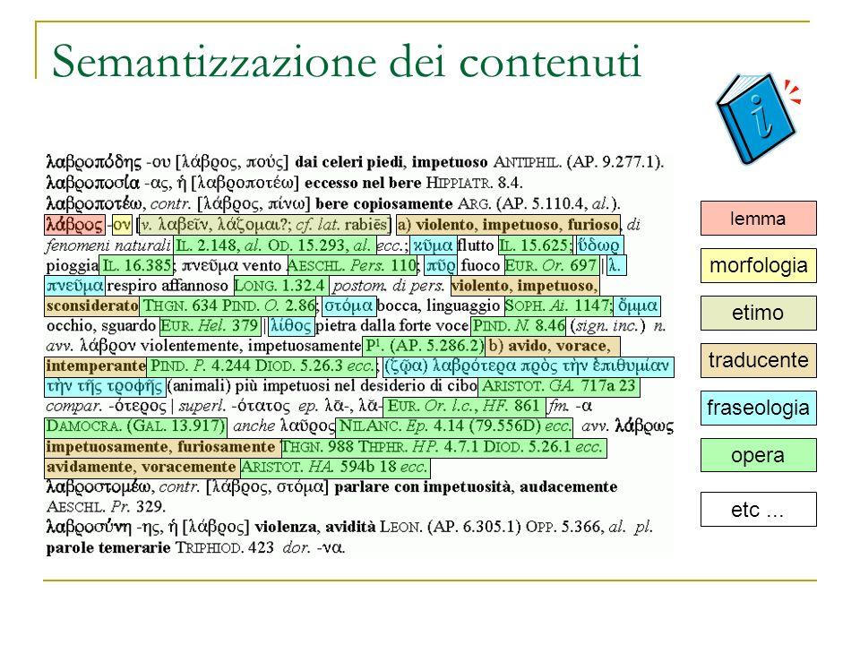 Semantizzazione dei contenuti lemma morfologia etimo traducente fraseologia opera etc...