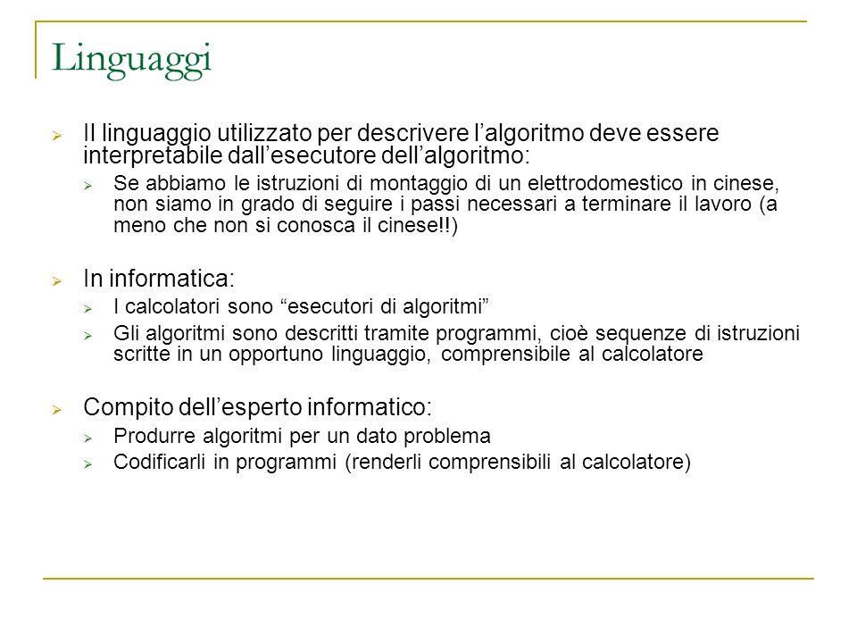 Linguaggi Il linguaggio utilizzato per descrivere lalgoritmo deve essere interpretabile dallesecutore dellalgoritmo: Se abbiamo le istruzioni di monta