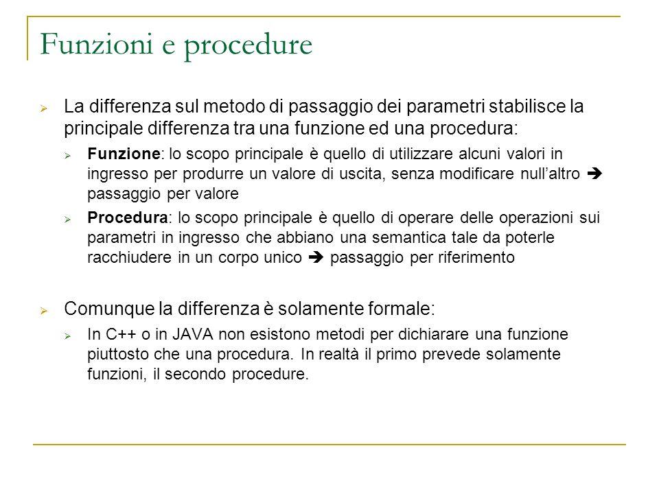Funzioni e procedure La differenza sul metodo di passaggio dei parametri stabilisce la principale differenza tra una funzione ed una procedura: Funzio