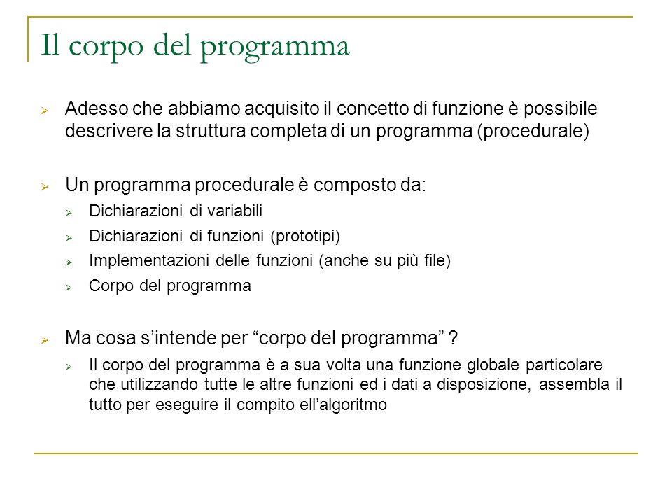 Il corpo del programma Adesso che abbiamo acquisito il concetto di funzione è possibile descrivere la struttura completa di un programma (procedurale)