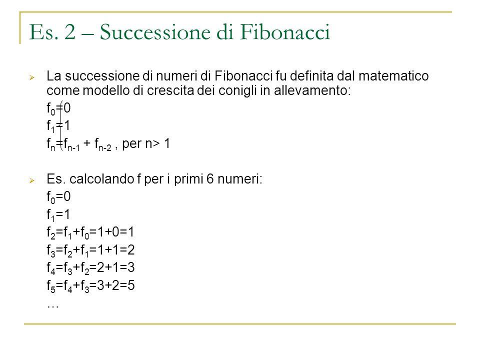 Es. 2 – Successione di Fibonacci La successione di numeri di Fibonacci fu definita dal matematico come modello di crescita dei conigli in allevamento: