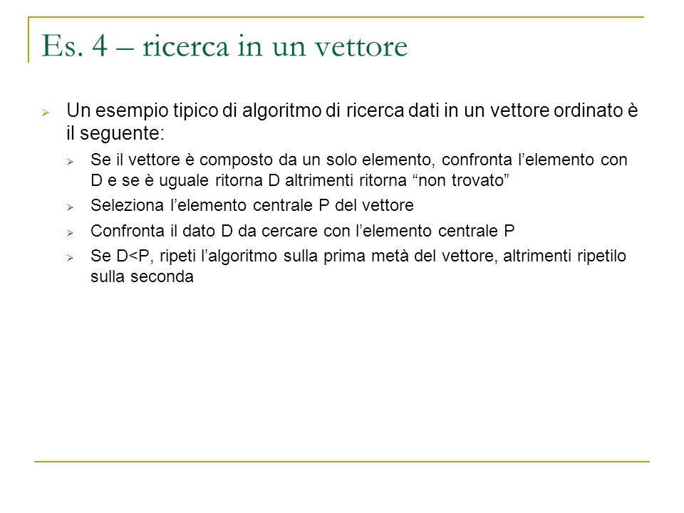 Es. 4 – ricerca in un vettore Un esempio tipico di algoritmo di ricerca dati in un vettore ordinato è il seguente: Se il vettore è composto da un solo