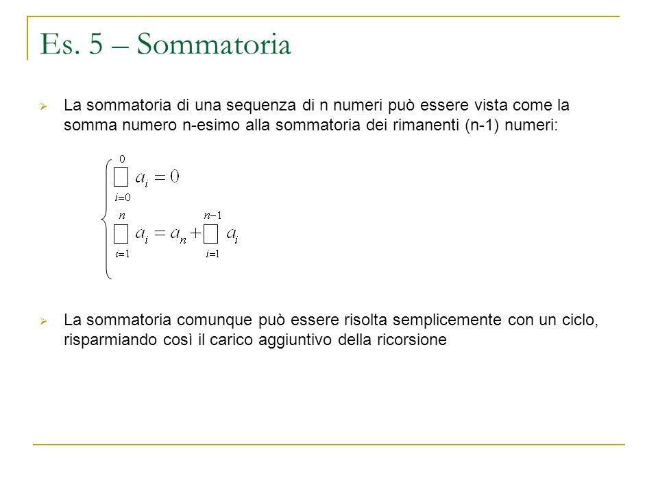Es. 5 – Sommatoria La sommatoria di una sequenza di n numeri può essere vista come la somma numero n-esimo alla sommatoria dei rimanenti (n-1) numeri: