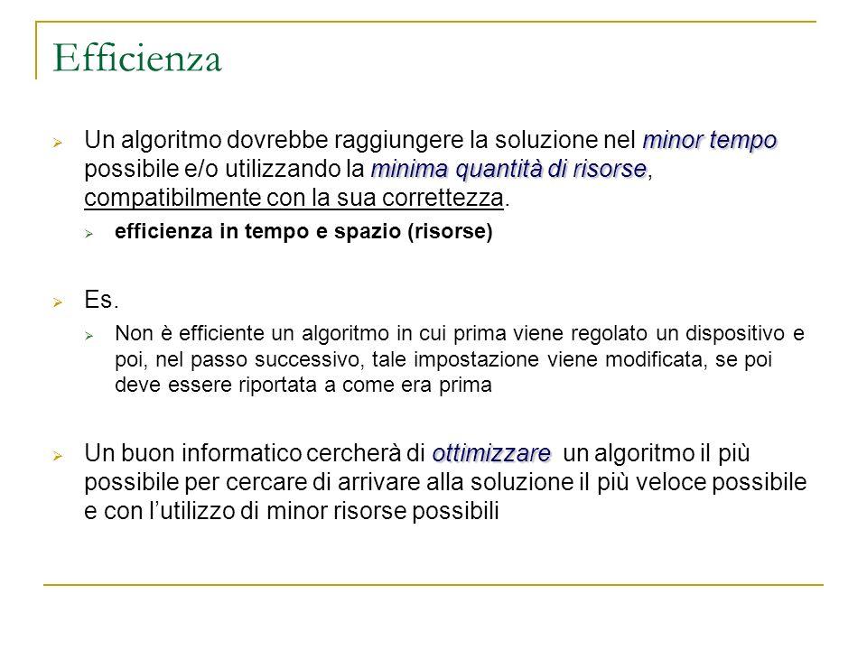 Efficienza minor tempo minima quantità di risorse Un algoritmo dovrebbe raggiungere la soluzione nel minor tempo possibile e/o utilizzando la minima q