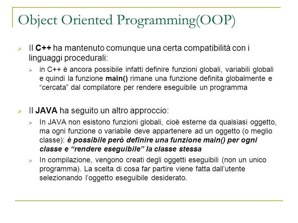 Object Oriented Programming(OOP) Il C++ ha mantenuto comunque una certa compatibilità con i linguaggi procedurali: in C++ è ancora possibile infatti d