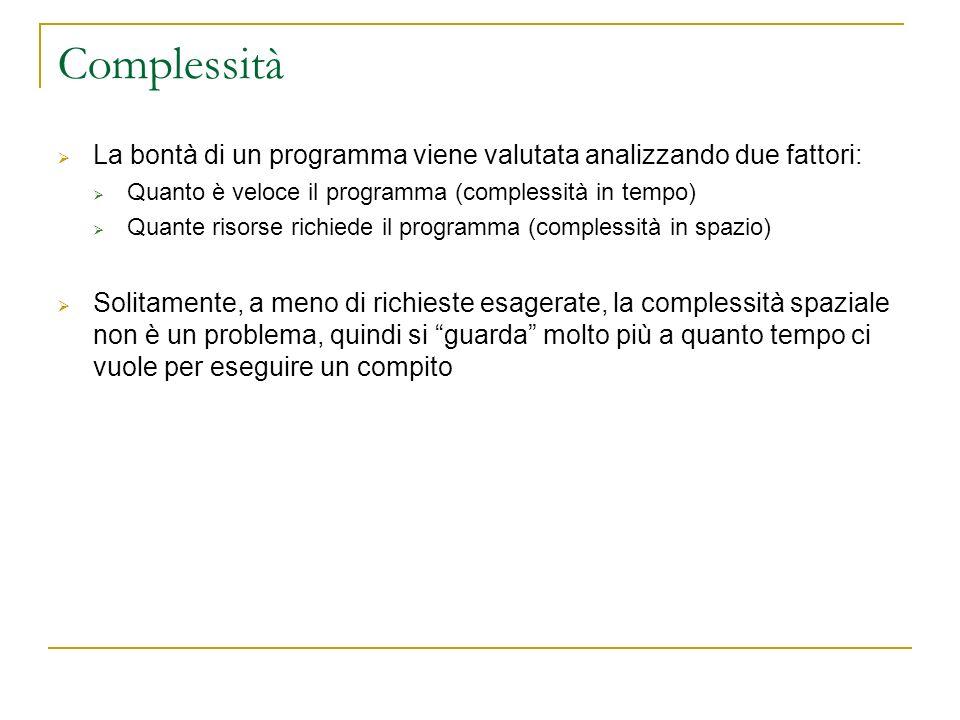 La bontà di un programma viene valutata analizzando due fattori: Quanto è veloce il programma (complessità in tempo) Quante risorse richiede il progra