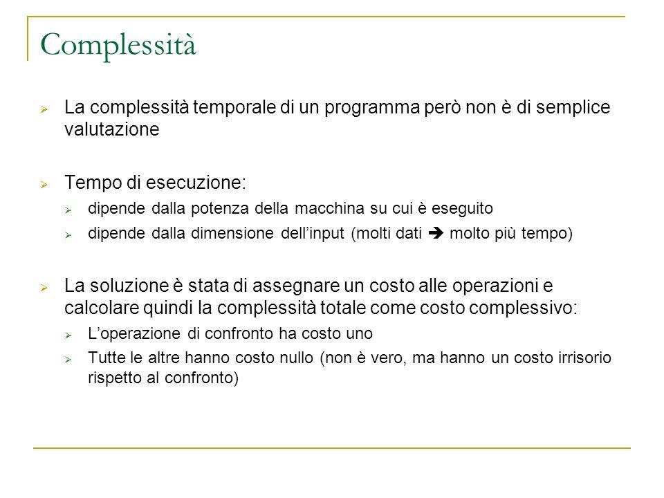 Complessità La complessità temporale di un programma però non è di semplice valutazione Tempo di esecuzione: dipende dalla potenza della macchina su c