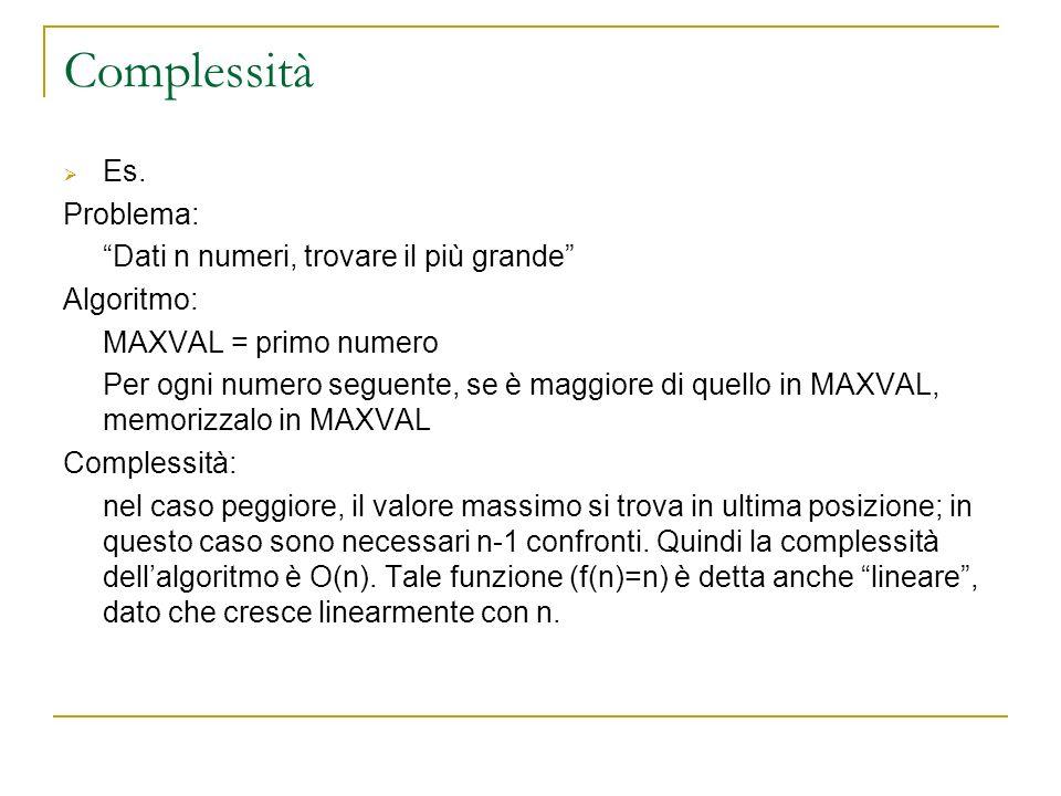 Complessità Es. Problema: Dati n numeri, trovare il più grande Algoritmo: MAXVAL = primo numero Per ogni numero seguente, se è maggiore di quello in M