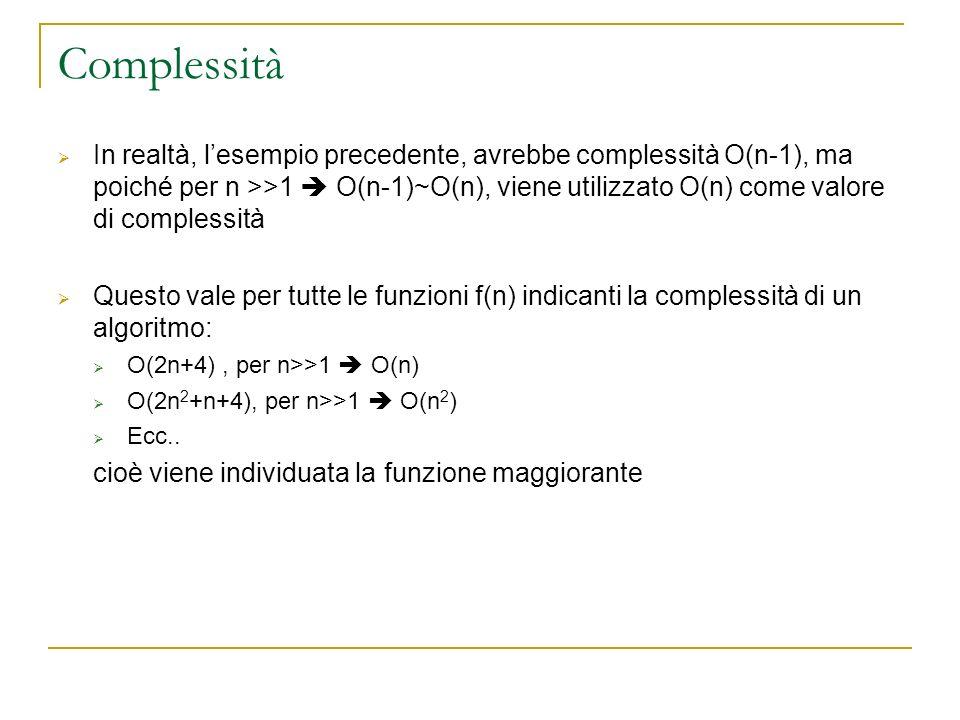 Complessità In realtà, lesempio precedente, avrebbe complessità O(n-1), ma poiché per n >>1 O(n-1)~O(n), viene utilizzato O(n) come valore di compless