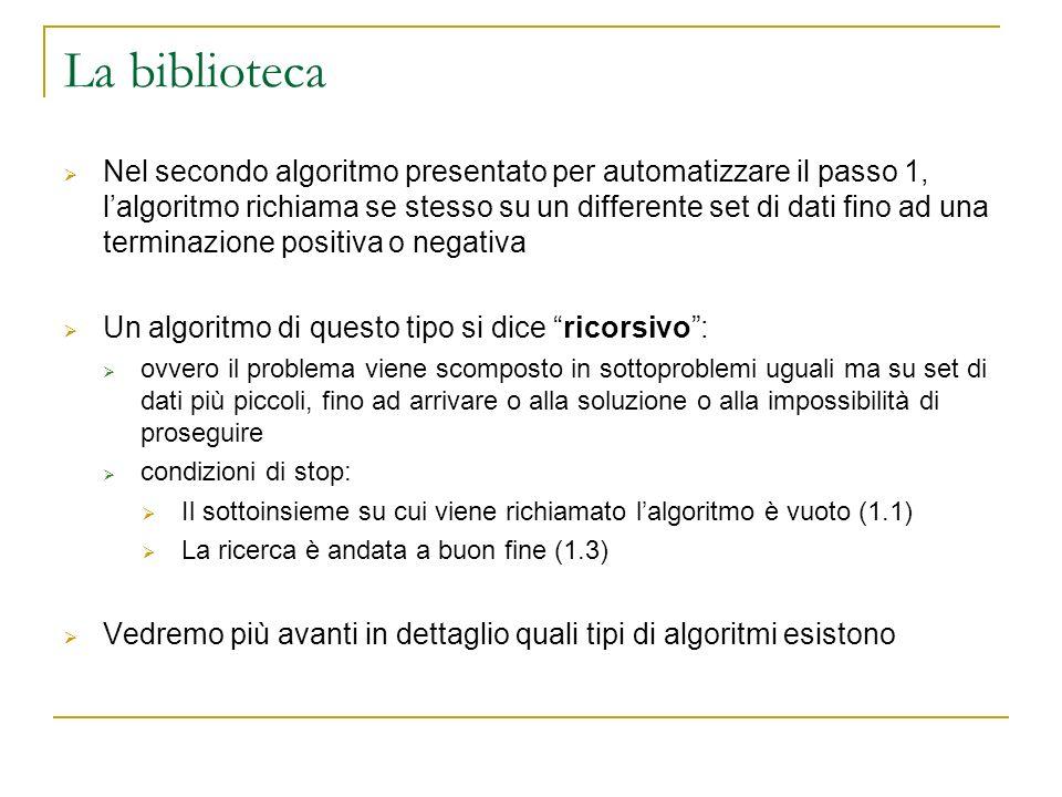 La biblioteca Nel secondo algoritmo presentato per automatizzare il passo 1, lalgoritmo richiama se stesso su un differente set di dati fino ad una te